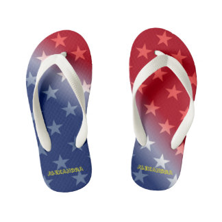 Customizable Blue and Red with White stars Kid's Flip Flops