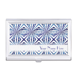 Customizable Blue and White Geometric Pattern Business Card Holder