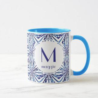 Customizable Blue and White Geometric Pattern Mug