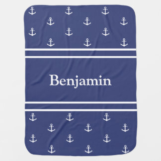 Customizable Blue and White Nautical Baby Blanket