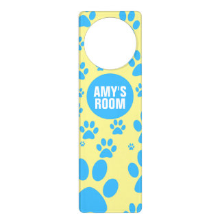 Customizable Blue and Yellow Paw Print Door Hanger