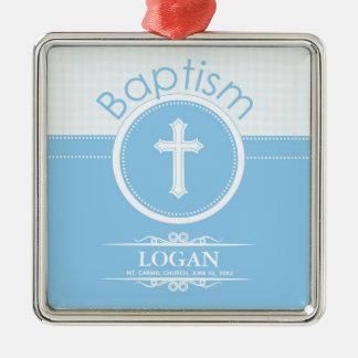 Customizable, Blue Boy Child of God Baptism Metal Ornament