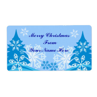 Customizable blue christmas tree shipping label
