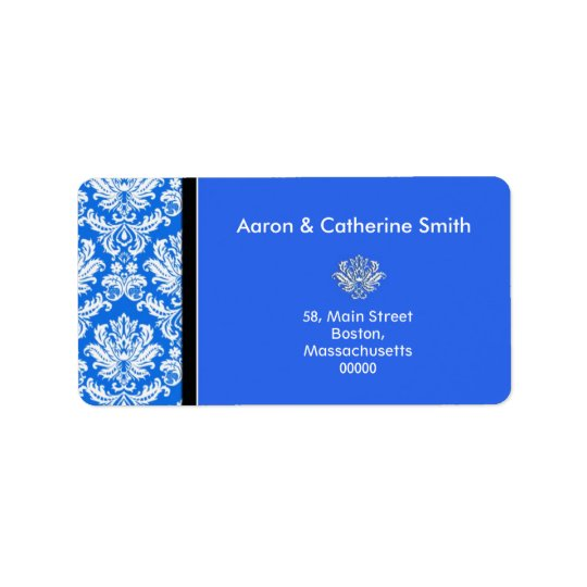 Customizable Blue Damask Address Labels