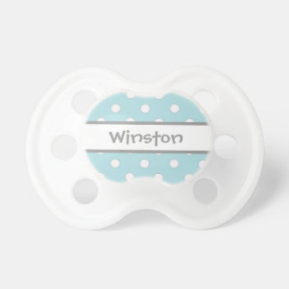 Customizable blue gray white polka dot pacifier