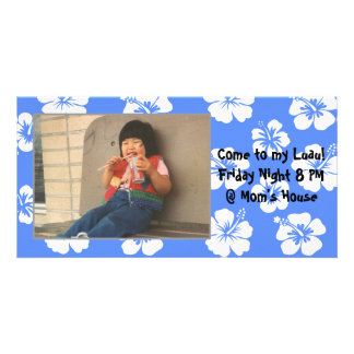 Customizable Blue Hibiscus Photocard Customized Photo Card