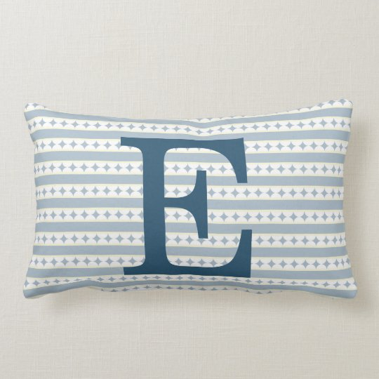 Customizable Blue Initial Monogram Lumbar Pillow
