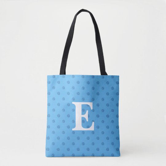 Customizable Blue Monogram Tote Bag