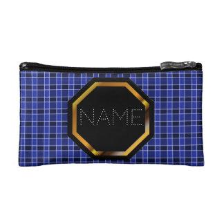 Customizable Blue Plaid Cosmetics Bag