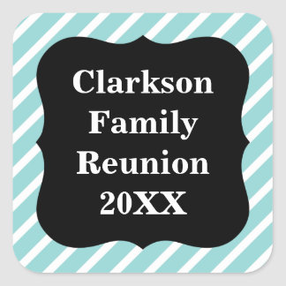 Customizable Blue Striped Family Reunion Stickers