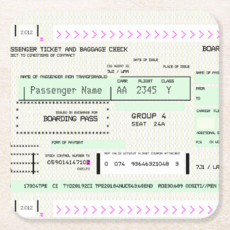 Customizable Boarding Pass Square Paper Coaster