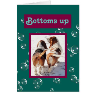 "Customizable ""Bottoms Up"" Birthday Card w/Bassets"