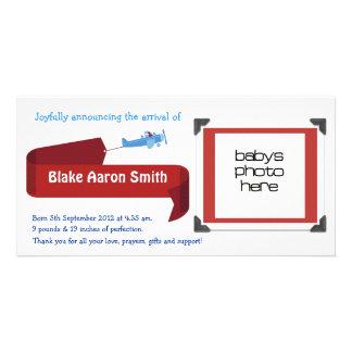 Customizable Boys Birth Announcement Photo Card Template