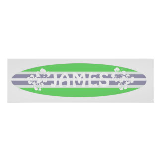 Customizable boys surfboard poster