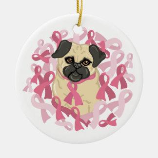 Customizable Breast Cancer Awareness Pug Ceramic Ornament