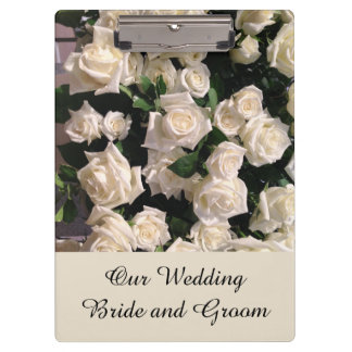 Customizable Bride and Groom White Roses Wedding Clipboard