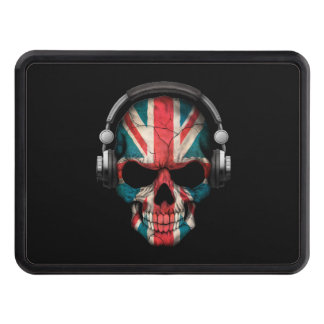 Customizable British Dj Skull with Headphones Trailer Hitch Cover