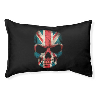 Customizable British Flag Skull Pet Bed