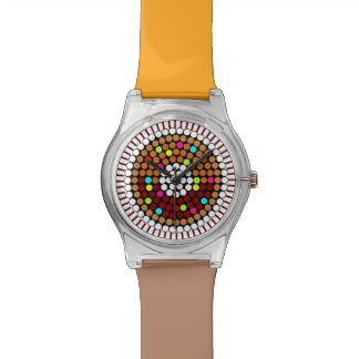 Customizable Brown & White Candy Dots Donut Watch