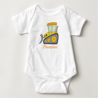 Customizable Bulldozer Baby Bodysuit