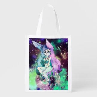 Customizable Bunny Galaxy Reusable Grocery Bag