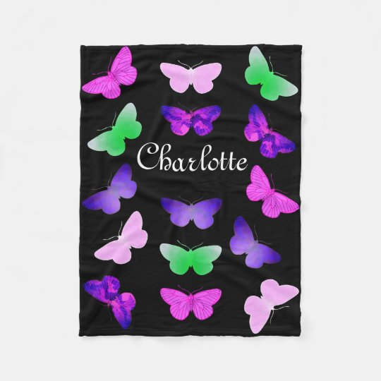 Customizable Butterfly Fleece Blanket