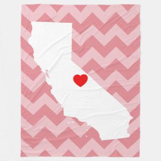 Customizable California with Red Heart Fleece Blanket