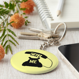 Customizable Call me Black Vintage telephone Basic Round Button Keychain