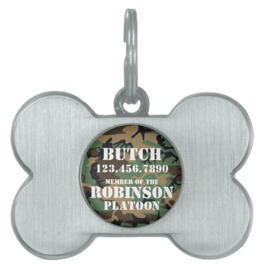 Customizable Camouflage Pet Dog ID Tag