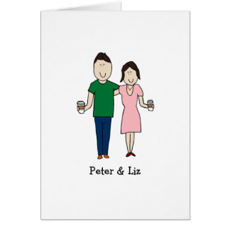 Customizable card- coffee drinking couple card