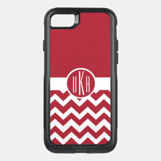 Customizable Cardinal Red and White Monogram OtterBox Commuter iPhone 8/7 Case