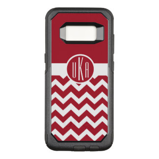 Customizable Cardinal Red and White Monogram OtterBox Commuter Samsung Galaxy S8 Case