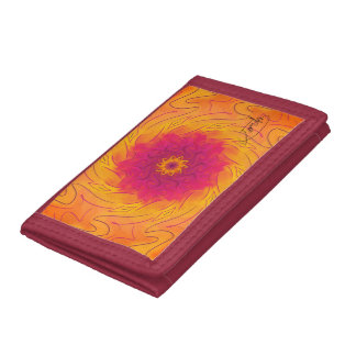 Customizable Carnation (Psychedelic spirograph) Trifold Wallets