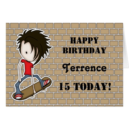 Customizable Cartoon Skater Boy Birthday Card