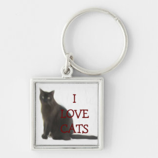 Customizable Cat Lover Gifts & Greetings Silver-Colored Square Keychain