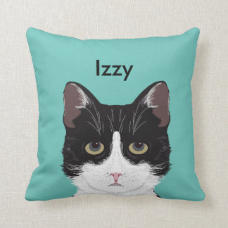 Customizable Cat Name - Black and White Tuxedo Cat Throw Pillow