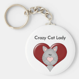 Customizable Cat Valentine - Gray - Add you text Keychain