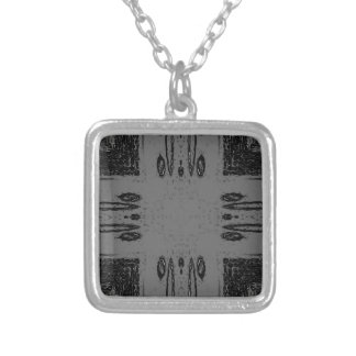 Customizable Center Gray Black Gothic Silver Plated Necklace