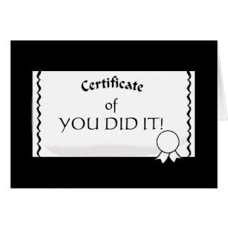 Customizable Certificate Card