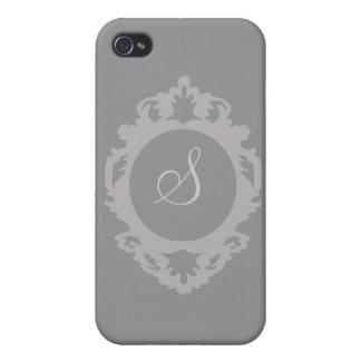 Customizable Charcoal Monogram i iPhone 4/4S Case