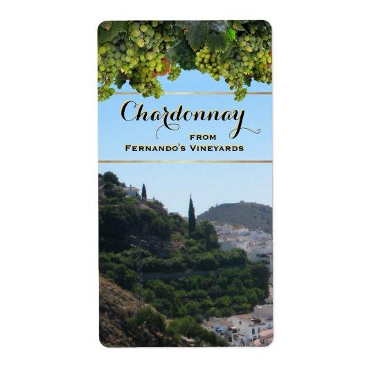 Customizable Chardonnay Wine Label Shipping Label