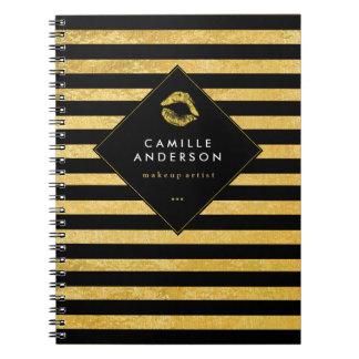 Customizable Chic Gold Lipstick Smooch Note Book