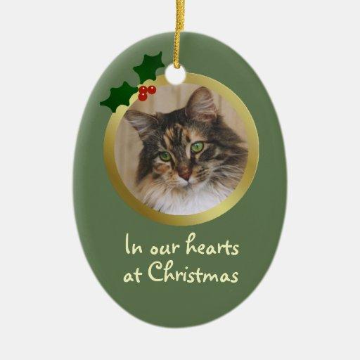 Customizable Christmas Cat Memorial Ornament