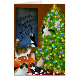 Customizable Christmas Cats Card