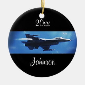 Customizable Christmas F16 Falcon Fighter Jet Ceramic Ornament