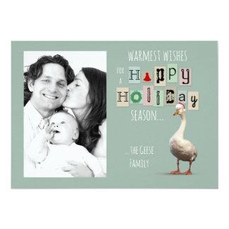Customizable Christmas Goose Holiday Card