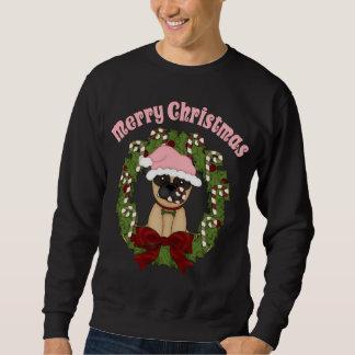 Customizable Christmas Holiday Pug Wreath Sweatshirt