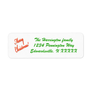 Customizable Christmas mail label red green