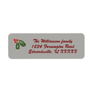 Customizable Christmas mailing label red green