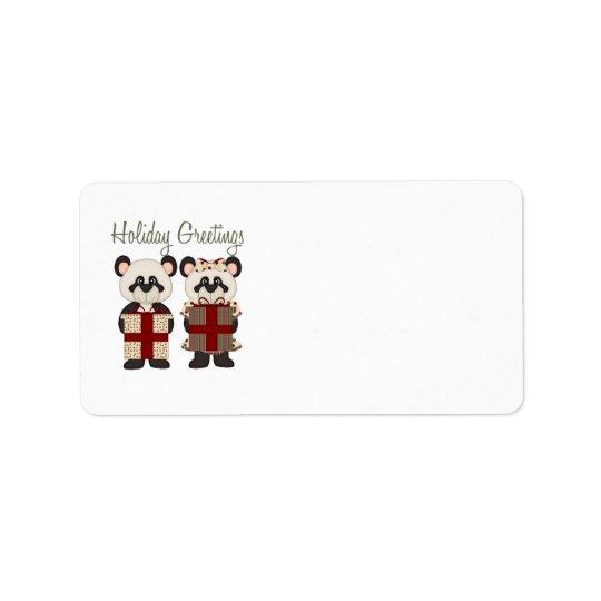 Customizable Christmas Panda Gifts and Tees Label